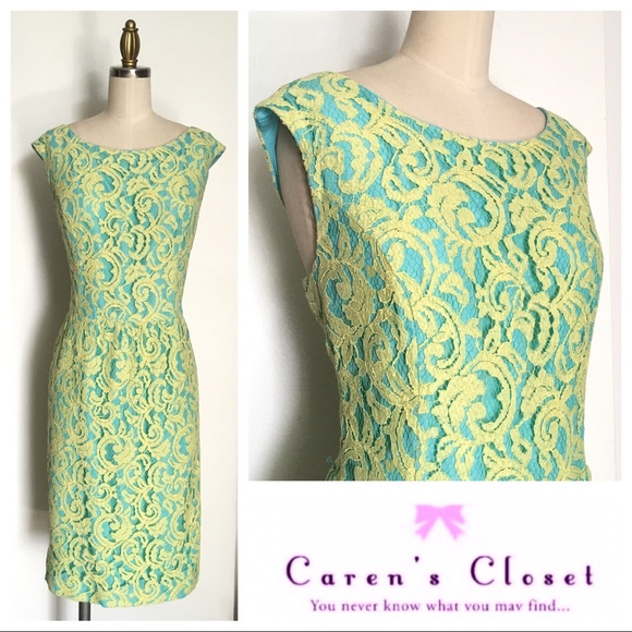 Ellen Tracy Dresses & Skirts - Ellen Tracy Chartreuse/Turquoise Lace Sheath Dress